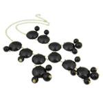Mode Statement Halskette, Zinklegierung, mit Harz & Eisen & Acryl, Zinklegierung Karabinerverschluss, goldfarben plattiert, schwarz, frei von Nickel, Blei & Kadmium, 32x33x9mm, verkauft per 18.5 ZollInch Strang