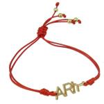 Zinklegierung Armband, mit Wachsschnur, Buchstabe, goldfarben plattiert, rot, frei von Nickel, Blei & Kadmium, 25x8.50x2.50mm, verkauft per ca. 7.5 ZollInch Strang