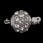 925 Sterling Silver Box kapje, Round, argjend praruar vërtetë, me zirconia kub & vetme-fillesë, asnjë, 12x12mm, 3PC/Qese,  Qese