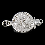925 Sterling Silver Box kapje, Round Flat, argjend praruar vërtetë, vetme-fillesë, asnjë, 11x11x4mm, 5PC/Qese,  Qese