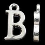 Zinklegierung Buchstaben Anhänger, silberfarben plattiert, frei von Nickel, Blei & Kadmium, 15.50x9x2mm, Bohrung:ca. 2mm, 10PCs/Tasche, verkauft von Tasche