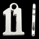 Pendants alfabet Zink Alloy, Alloy zink, Figura, Ngjyra argjend praruar, asnjë, asnjë, , nikel çojë \x26amp; kadmium falas, 14.50x9.50x1.50mm, : 2mm, 10PC/Qese,  Qese