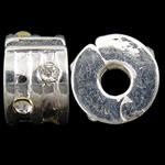 Tunxh European Clip, Rondelle, Ngjyra argjend praruar, me diamant i rremë, asnjë, , nikel çojë \x26amp; kadmium falas, 9x5.70x9.50mm, : 3mm, 10PC/Qese,  Qese