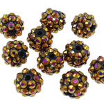 Beads diamant i rremë Rrëshirë, Rrëshirë diamant i rremë, Daulle, Ngjyra AB kromuar, asnjë, Lt Colorado topaz, 10x12mm, : 2mm, 100PC/Qese,  Qese