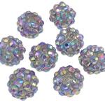 Beads diamant i rremë Rrëshirë, Rrëshirë diamant i rremë, Daulle, Ngjyra AB kromuar, asnjë, purpurtë drita, 10x12mm, : 2mm, 100PC/Qese,  Qese