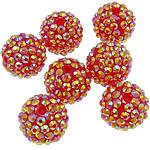 Harz Strass Perlen, Trommel, AB Farben platiniert, rote Orange, 16x18mm, Bohrung:ca. 2.5mm, 100PCs/Tasche, verkauft von Tasche