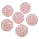 Harz Strass Perlen, Trommel, AB Farben platiniert, Rosa, 16x18mm, Bohrung:ca. 2.5mm, 100PCs/Tasche, verkauft von Tasche
