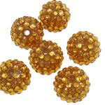 Beads diamant i rremë Rrëshirë, Rrëshirë diamant i rremë, Daulle, asnjë, i tejdukshëm, i verdhë, 16x18mm, : 2.5mm, 100PC/Qese,  Qese