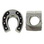 Beads European aliazh zink, Alloy zink, Kube, Ngjyra antike argjendi praruar, pa karrem, asnjë, , nikel çojë \x26amp; kadmium falas, 9.80x8.50x11mm, : 5.5mm, 10PC/Qese,  Qese