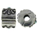 Tunxh European Clip, Rondelle, Ngjyra antike argjendi praruar, me diamant i rremë, asnjë, , nikel çojë \x26amp; kadmium falas, 11x7x9.80mm, : 3mm, 10PC/Qese,  Qese