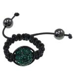 Shamballa Ring Finger, Argjilë, Round, punuar me dorë, me diamant i rremë, Smerald, 12mm, : 18mm, :7.5,  PC