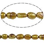 Barok Beads kulturuar Pearl ujërave të ëmbla, Pearl kulturuar ujërave të ëmbla, Nuggets, i lyer, kaltërosh verdhë, 6-7mm, : 0.8mm, : 15Inç,  15Inç,