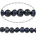 Barok Beads kulturuar Pearl ujërave të ëmbla, Pearl kulturuar ujërave të ëmbla, Round, asnjë, e zezë, 3-4mm, : 0.8mm, : 14.7Inç,  14.7Inç,