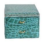 Bizhuteri lëkure Set Box, PU, Drejtkëndësh, asnjë, textured, e gjelbër, 140x187x107mm,  PC