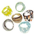 Ring Finger lampwork, Shape përziera, punuar me dorë, petë argjendi, ngjyra të përziera, 23-27.5mm, : 19mm, :9, 24PC/Kuti,  Kuti