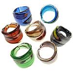 Ring Finger lampwork, Shape përziera, punuar me dorë, petë argjendi, ngjyra të përziera, 25-31.5mm, : 18mm, :8, 24PC/Kuti,  Kuti