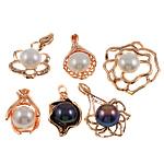 Pendants Pearl ujërave të ëmbla, Pearl kulturuar ujërave të ëmbla, with Tunxh, Shape përziera, natyror, ngjyra të përziera, 25x21-35x21mm, : 2.5-4mm,  PC