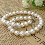 925 Sterling Silver gjerdan perlash, Pearl kulturuar ujërave të ëmbla, Round, natyror, e bardhë, 9.5-10.5mm, :43cm,  43cm,