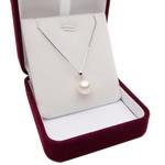 925 Sterling Silver gjerdan perlash, Pearl kulturuar ujërave të ëmbla, with 925 Sterling Silver, Round, natyror, e bardhë, 9-9.5mm, :17Inç,  17Inç,