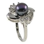 Ujërave të ëmbla Pearl Ring Finger, Pearl kulturuar ujërave të ëmbla, with Diamant i rremë & Tunxh, Shape Tjera, natyror, e zezë, 21x29.50x18mm, : 18mm, :8, 10PC/Qese,  Qese