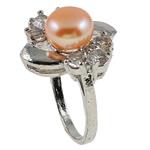 Ujërave të ëmbla Pearl Ring Finger, Pearl kulturuar ujërave të ëmbla, with Diamant i rremë & Tunxh, Shape Tjera, natyror, rozë, 21x29.50x18mm, : 18mm, :8, 10PC/Qese,  Qese