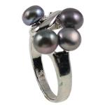 Ujërave të ëmbla Pearl Ring Finger, Pearl kulturuar ujërave të ëmbla, with Diamant i rremë & Tunxh, Shape Tjera, natyror, e zezë, 20.50x26x15mm, : 17mm, :6.5, 10PC/Qese,  Qese