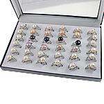 Ujërave të ëmbla Pearl Ring Finger, Pearl kulturuar ujërave të ëmbla, with Tunxh, Shape Tjera, natyror, ngjyra të përziera, 22x33x18mm, : 19mm, :9, 36PC/Kuti,  Kuti