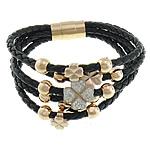 Cord Bracelets PU, with Argjilë & Diamant i rremë, Shape Tjera, ngjyrë ari praruar, 5-fije floku, e zezë, 9x9mm, 12.5x12.5x11mm, 15x15mm, 8mm, 4mm, : 8Inç, 2Fillesat/Shumë,  Shumë