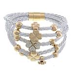 Cord Bracelets PU, with Argjilë & Diamant i rremë, Shape Tjera, ngjyrë ari praruar, 5-fije floku, e bardhë, 9x9mm, 12.5x12.5x11mm, 15x15mm, 8mm, 4mm, : 8Inç, 2Fillesat/Shumë,  Shumë
