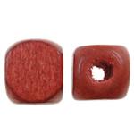 Beads druri, Kub, i lyer, asnjë, i kuq, 10mm, : 4mm, 1135PC/Qese,  Qese