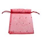 Drawstring çanta bizhuteri, Organza, asnjë, i tejdukshëm, i kuq, 120x100mm, 100PC/Qese,  Qese