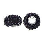 Swarovski Crystal Beads, Rondelle, argjend praruar vërtetë, Vjollcë, 8x13mm, : 4mm, 10PC/Qese,  Qese