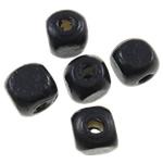 Beads druri, Kub, i lyer, asnjë, e zezë, 8mm, : 2.5mm, 1945PC/Qese,  Qese