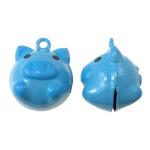 Hekuri Pendants Bell, Derr, asnjë, smalt, blu, , nikel çojë \x26amp; kadmium falas, 19x23x17mm, : 2mm, 10PC/Qese,  Qese