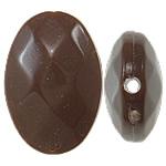Beads Solid Color akrilik, Oval Flat, asnjë, ngjyra të forta, ngjyrë kafe, 13x19x6.50mm, : 1.5mm, 500PC/Qese,  Qese