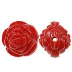 Beads Solid Color akrilik, Lule, asnjë, ngjyra të forta, i kuq, 20x17mm, : 2.5mm, 170PC/Qese,  Qese