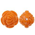 Beads Solid Color akrilik, Lule, asnjë, ngjyra të forta, portokalli drita të kuqe, 20x17mm, : 2.5mm, 170PC/Qese,  Qese