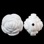 Beads Solid Color akrilik, Lule, asnjë, ngjyra të forta, e bardhë, 20x17mm, : 2.5mm, 170PC/Qese,  Qese