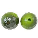 Beads UV akrilik Plating, Round, Plating UV, asnjë, e gjelbër, 14mm, : 2mm, 330PC/Qese,  Qese