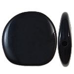 Beads Solid Color akrilik, Nuggets, asnjë, ngjyra të forta, e zezë, 23x22.50x5.50mm, : 2mm, 330PC/Qese,  Qese