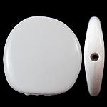 Beads Solid Color akrilik, Nuggets, asnjë, ngjyra të forta, e bardhë, 23x22.50x5.50mm, : 2mm, 330PC/Qese,  Qese