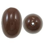Beads Solid Color akrilik, Oval, asnjë, ngjyra të forta, ngjyrë kafe, 17x25mm, : 2.5mm, 125PC/Qese,  Qese
