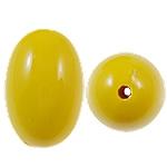 Beads Solid Color akrilik, Oval, asnjë, ngjyra të forta, i verdhë, 17x25mm, : 2.5mm, 125PC/Qese,  Qese