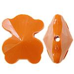 Beads Solid Color akrilik, Bear, asnjë, ngjyra të forta, portokalli thellë kuqalashe, 21x25x14mm, : 2.5mm, 155PC/Qese,  Qese