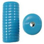 Beads Solid Color akrilik, Tub, asnjë, ngjyra të forta, blu, 12.50x11x30mm, : 3mm, 145PC/Qese,  Qese