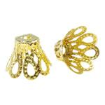Iron Bead Caps, Lule, ngjyrë ari praruar, asnjë, asnjë, , nikel çojë \x26amp; kadmium falas, 11x8mm, : 2mm, 2000PC/Qese,  Qese