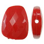Beads Solid Color akrilik, Trapez, asnjë, ngjyra të forta, i kuq, 23.50x30x8mm, : 2.5mm, 125PC/Qese,  Qese