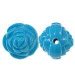 Beads Solid Color akrilik, Lule, asnjë, ngjyra të forta, blu, 14x13mm, : 2mm, 450PC/Qese,  Qese