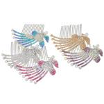 Combs dekorative Flokët, Alloy zink, Pallua, Ngjyra argjend praruar, me diamant i rremë, asnjë, , nikel çojë \x26amp; kadmium falas, 74x77x14mm, 12PC/Qese,  Qese