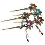 Stick flokët, Alloy zink, with Rrëshirë, Lule, Ngjyra antike bronz i praruar, me diamant i rremë, asnjë, , nikel çojë \x26amp; kadmium falas, 158x54x12mm, 12PC/Qese,  Qese